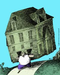 Man holding house  on his shoulders