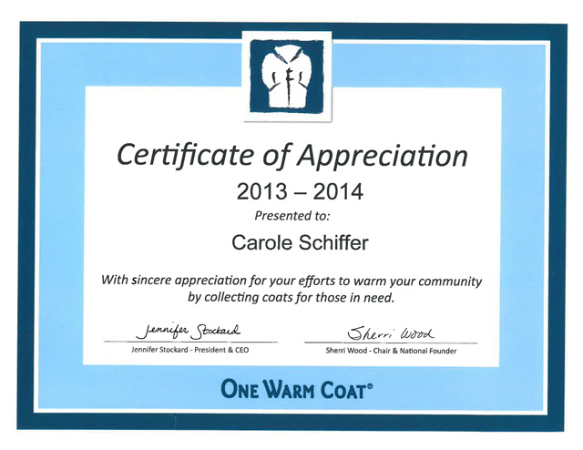 Warm Coat Certificate reduced size