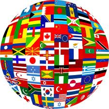 globe with foreign flags