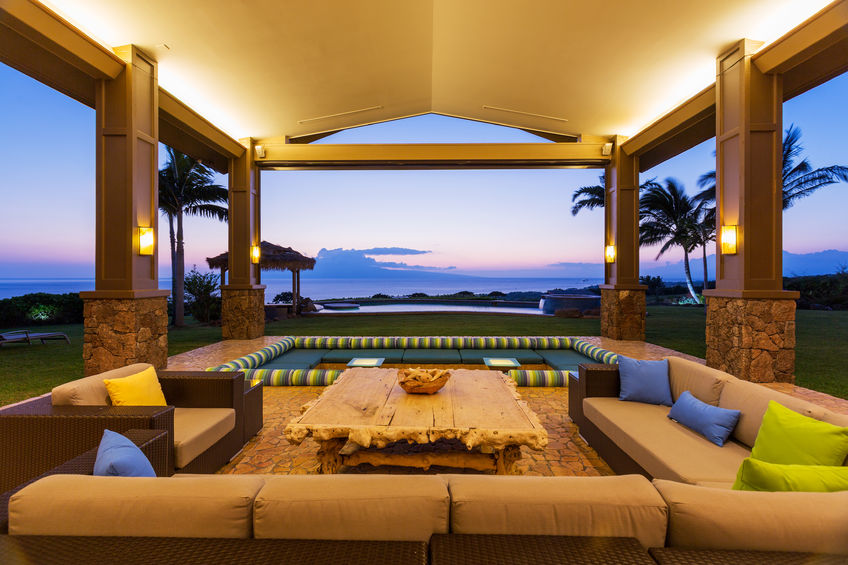 28327077 - beautiful luxury home, exterior patio lounge at sunset