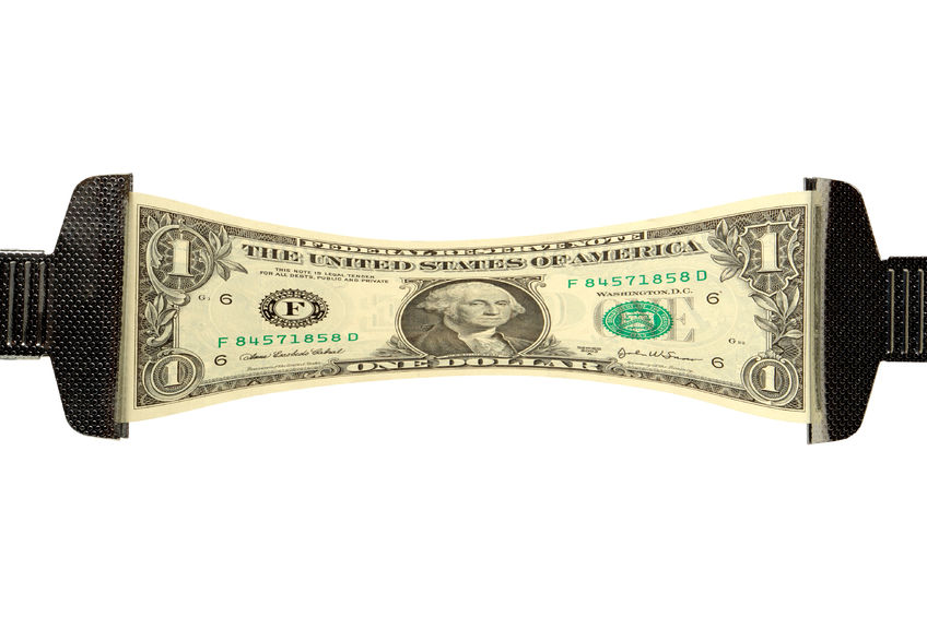 1703768 - one dollar bill stretched over white background