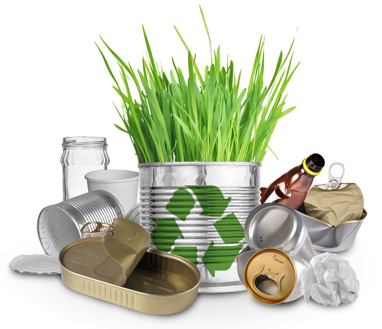 29842447 - can with growing grass and trash for recycle