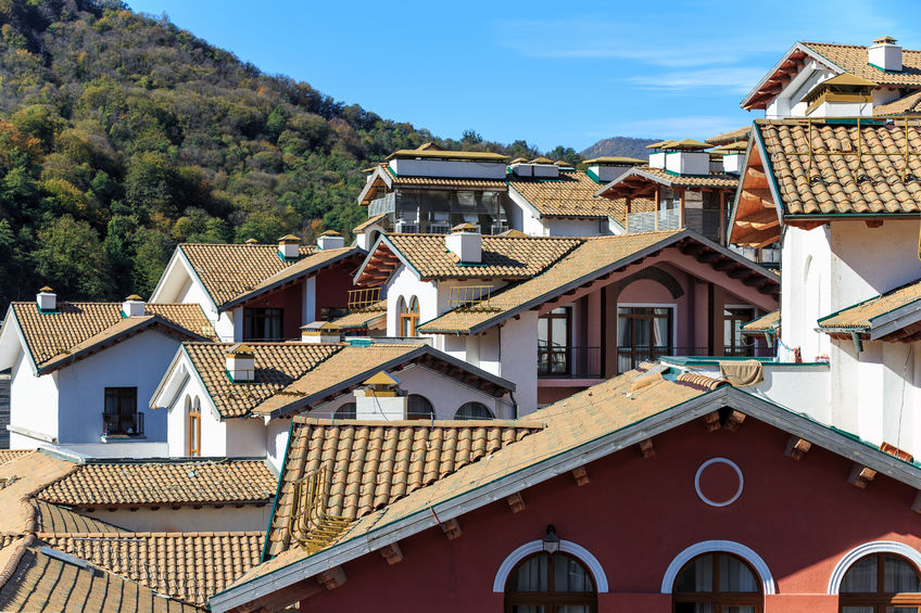 65213355 - rooftops of european style housing in perspective