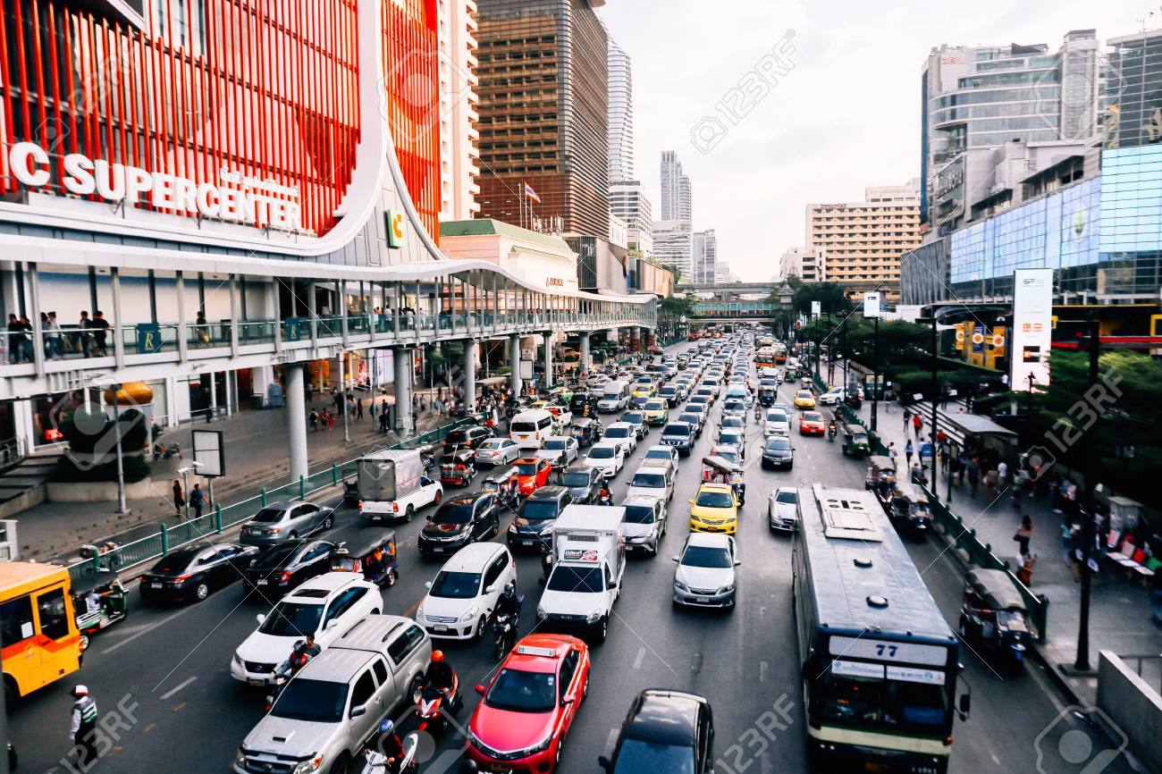 BANGKOK, THAILAND - December 14 2019: Heavy traffic in front of Central World. Central World is one of the most jammed traffic congestion in Bangkok metro city