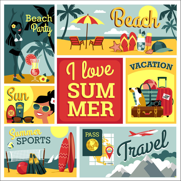 I love summer. Vector illustration of traditional summer vacatio